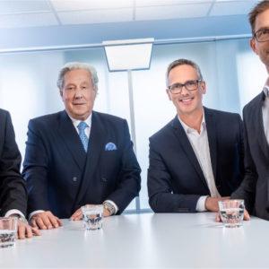 Die Führungsmannschaft von TRILUX: Johannes Huxol, Michael Huber, Hubertus Volmert und Joachim Geiger (v.l.n.r.)